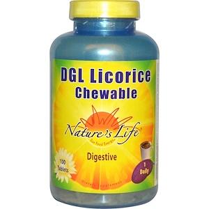 Nature's Life, Жевательная солодка DGL, 100 таблеток