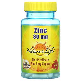 Nature's Life, Zinc, 30 mg, 50 Vegetarian Capsules