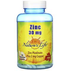 Nature's Life, 鋅,30 毫克,250 粒素食膠囊