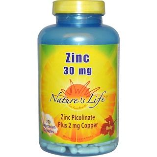 Nature's Life, 亜鉛、30 mg、ベジキャップ使用 250 錠
