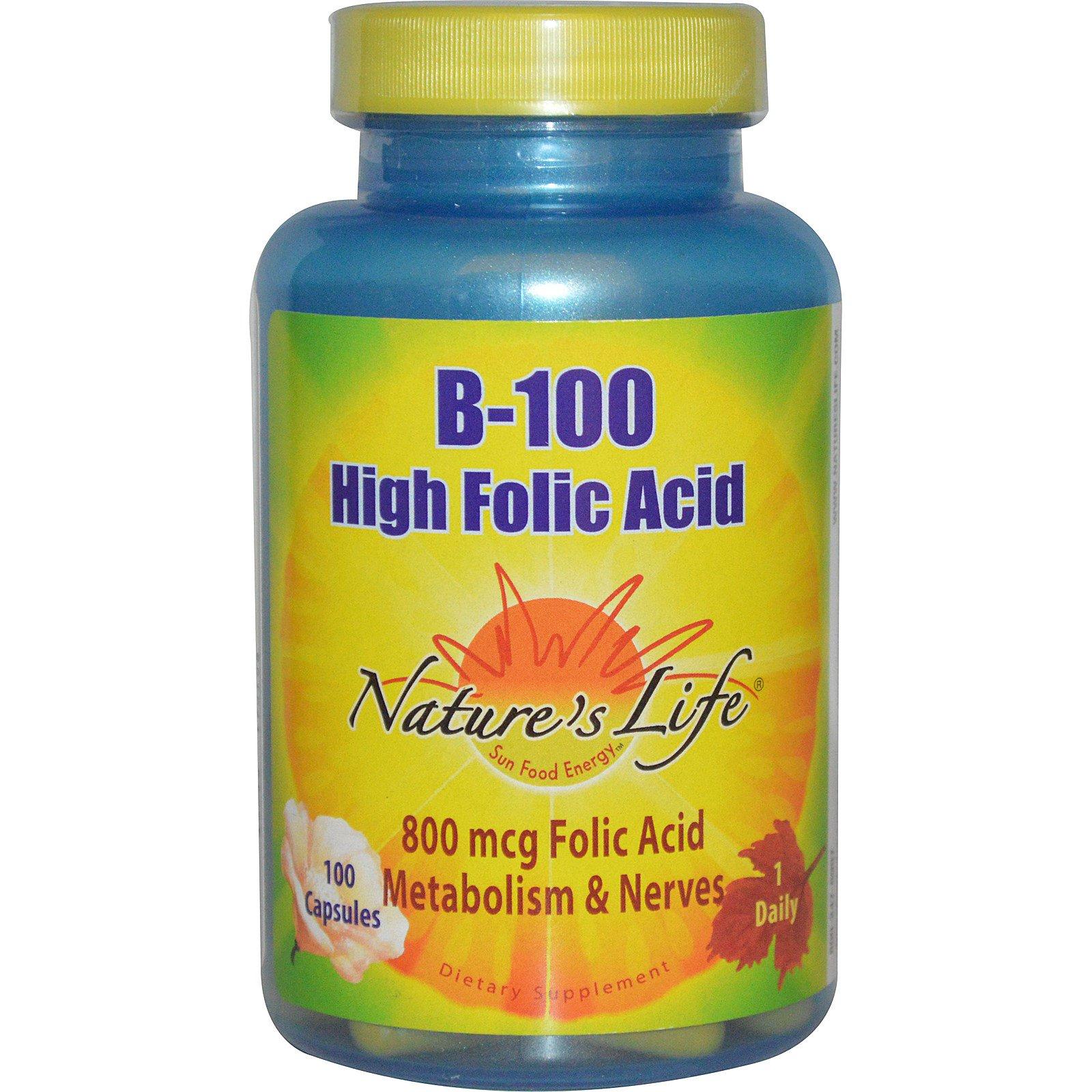 Nature's Life, B-100, Фолиевая кислота, 100 капсулы