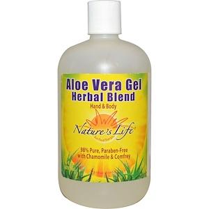 Натурес Лифе, Aloe Vera Gel Herbal Blend, Hand & Body, 16 fl oz (473 ml) отзывы покупателей