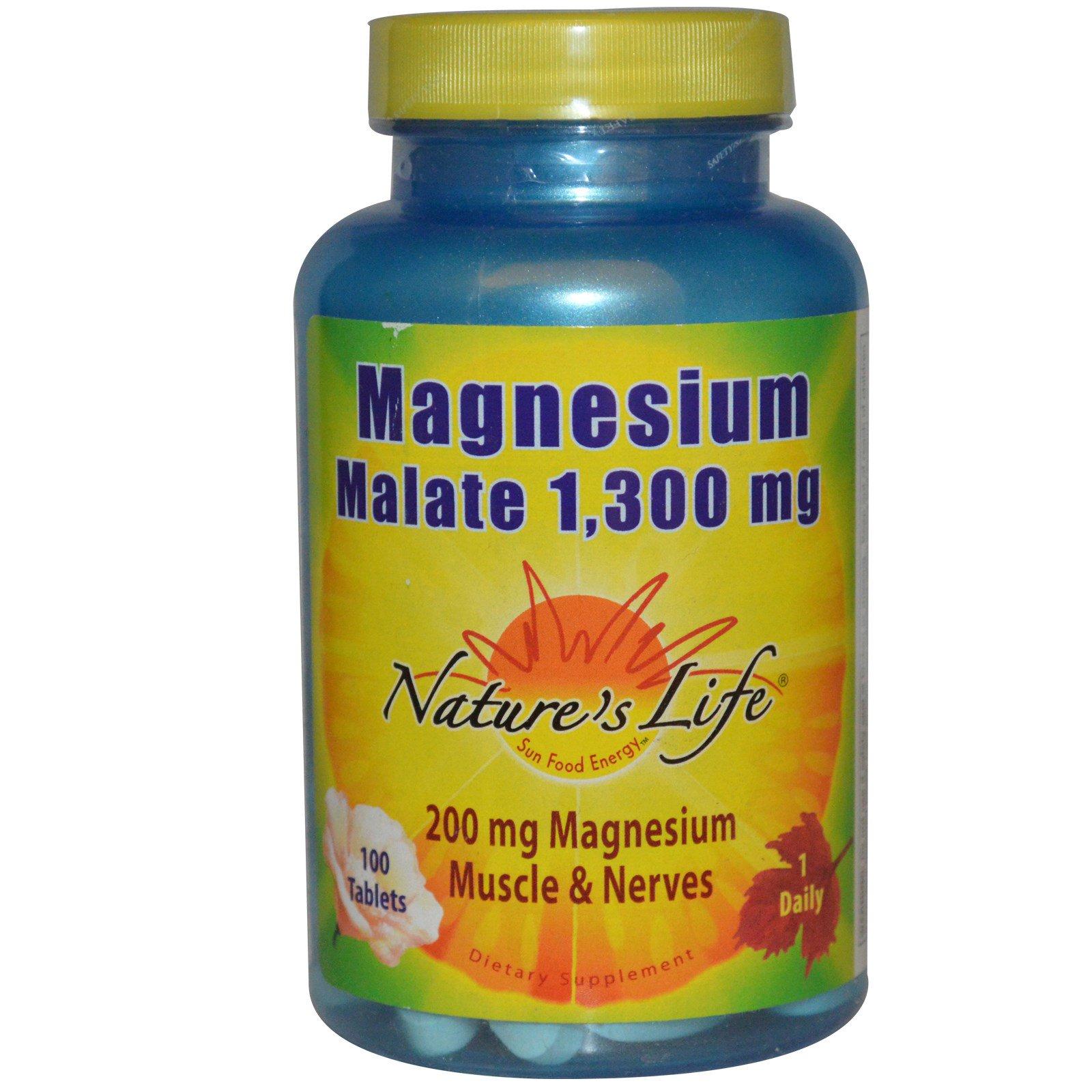 Nature's Life, Малат магния, 1,300 мг, 100  таблеток