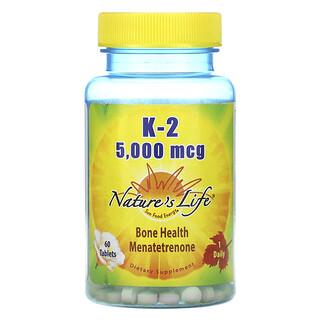 Nature's Life, K-2、丈夫な体づくりのためのメナテトレノン、5,000mcg、タブレット60粒