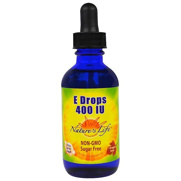Nature's Life, E Drops , 400 IU, 2 fl oz (60 ml) (Discontinued Item)