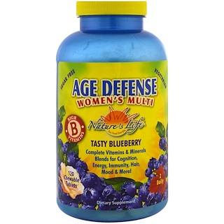 Nature's Life, Age Defense Women's Multi, Tasty Blueberry, 120 Chewable Tablets