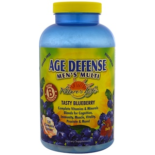 Nature's Life, Age Defense Men's Multi, Tasty Blueberry, 120 Chewable Tablets