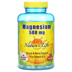 Nature's Life, Magnesium Plus 維生素 B-6,500 毫克,180 粒素食膠囊