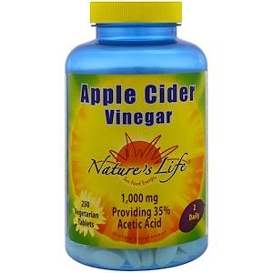 Nature's Life, Яблочный уксус, 250 вегетарианских таблеток