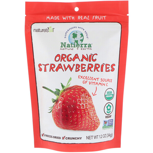 Natierra, Organic Freeze-Dried, Strawberries, 1.2 oz (34 g)