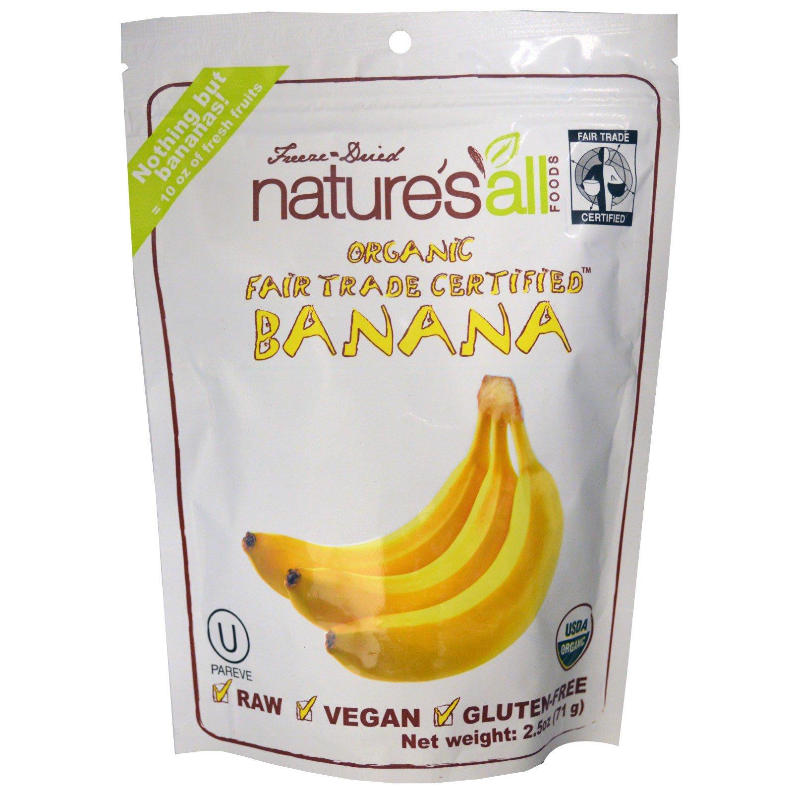 Natierra Nature's All , Натуральные бананы, 2.5 унций (71 г)