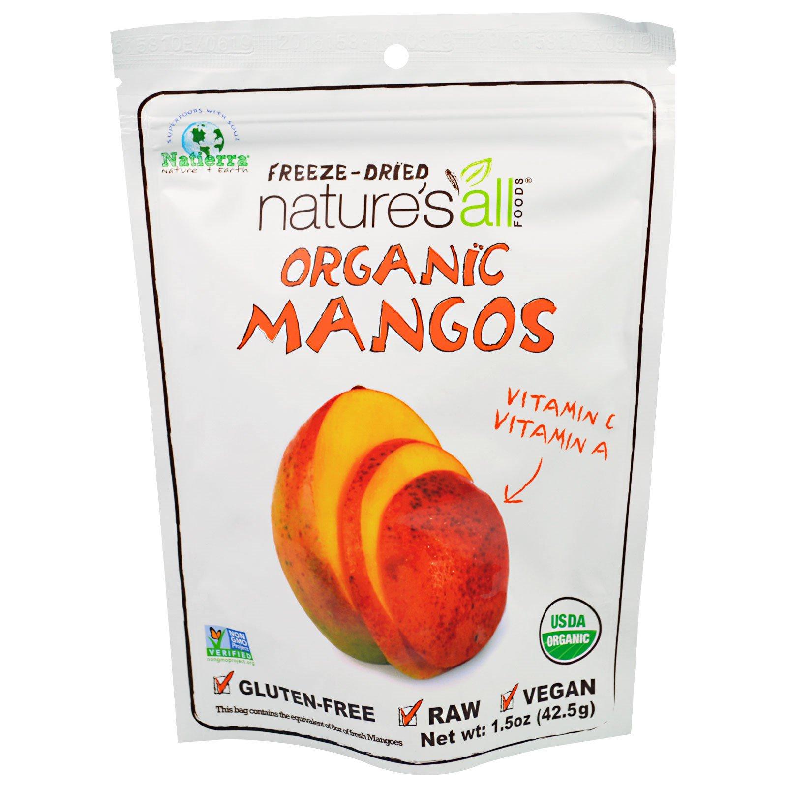 Natierra Nature's All , Органический сублимированный манго, 1,5 унции (42.5 г)