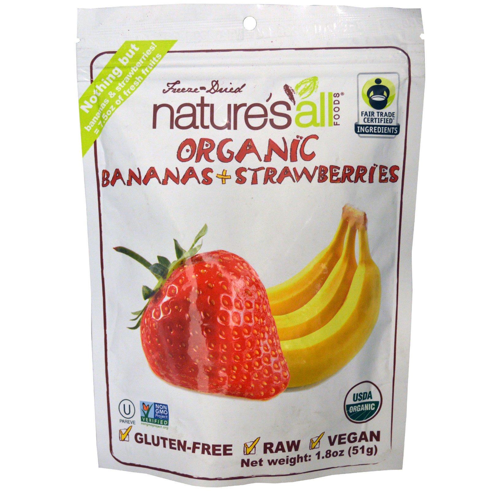 Natierra Nature's All , Органические бананы + земляника, 51 г (1,8 унции)