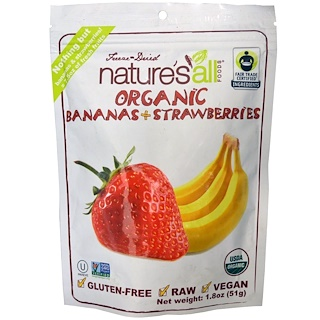 Natierra Nature's All , Organic Bananas + Strawberries, 1.8 oz (51 g)