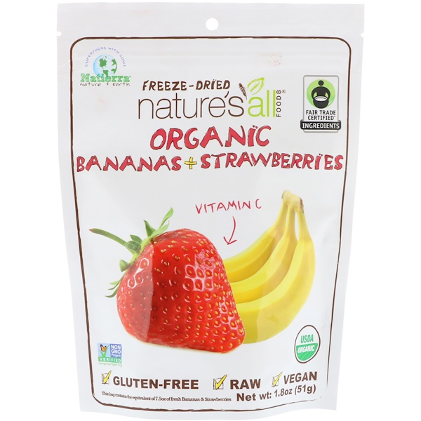Natierra, Organic Freeze-Dried, Bananas + Strawberries, 1.8 oz (51 g) (Discontinued Item)