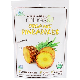 Natierra Nature's All , オーガニックフリーズドライ、パイナップル、1.5 oz (42.5 g)