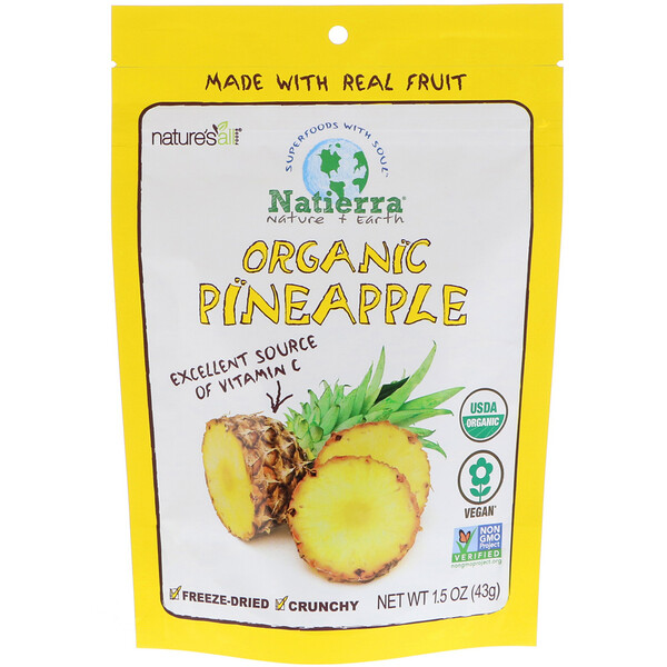 Organic Freeze-Dried, Pineapples, 1.5 oz (43 g)