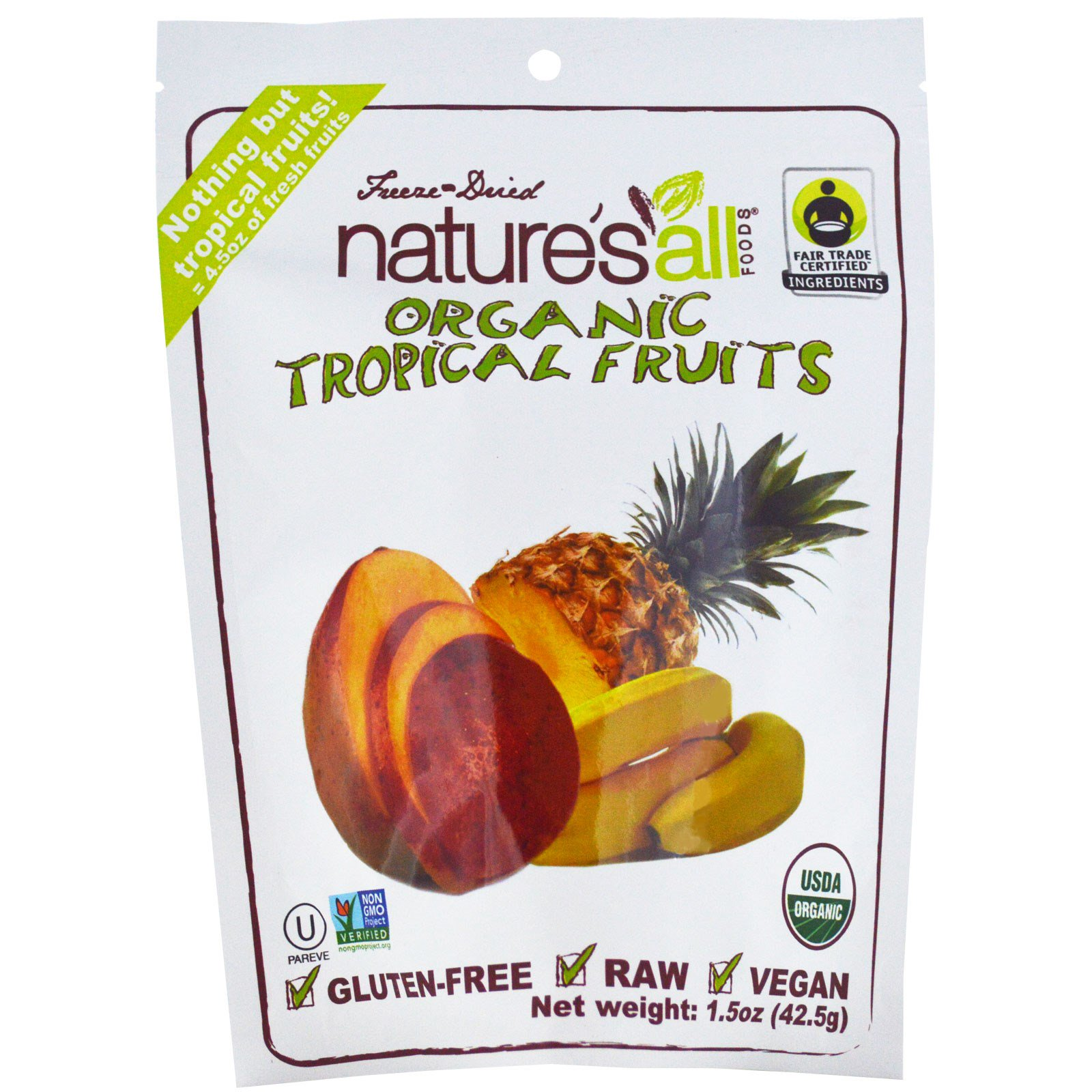 Natierra Nature's All , Органические тропические фрукты, 42,5 г (1,5 унции)