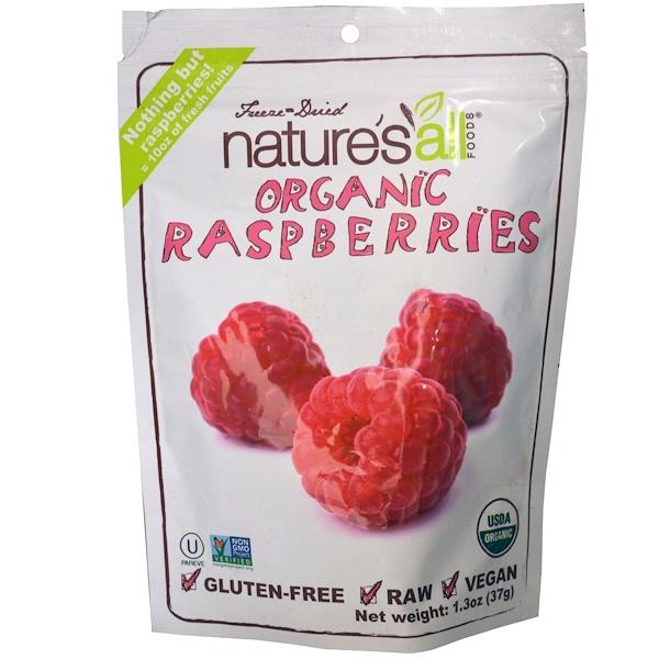 Natierra Nature's All , Freeze-Dried Organic Raspberries, 1.3 oz (37 g)
