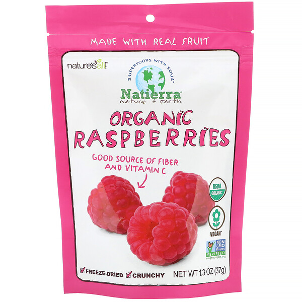 Organic Freeze-Dried, Raspberries, 1.3 oz (37 g)