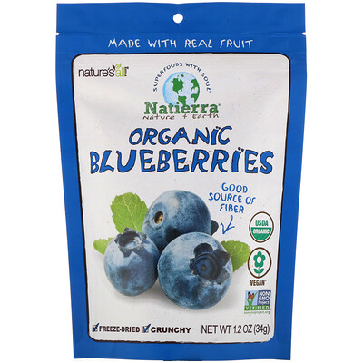 Natierra Organic Freeze-Dried, Blueberries, 1.2 oz (34 g)