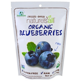 Natierra Nature's All , Organic Blueberries, Freeze-Dried, 1.2 oz (34 g)