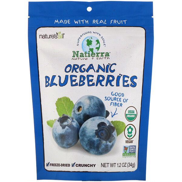 Natierra, Organic Freeze-Dried Blueberries, 1.2 oz (34 g)
