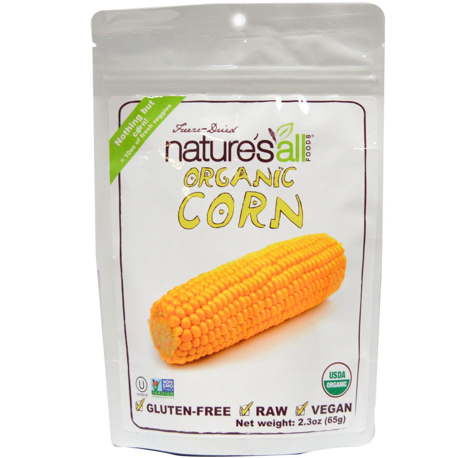 Natierra Nature's All , Foods, Сублимированная органическая кукуруза , 2.3 унций (65 г)