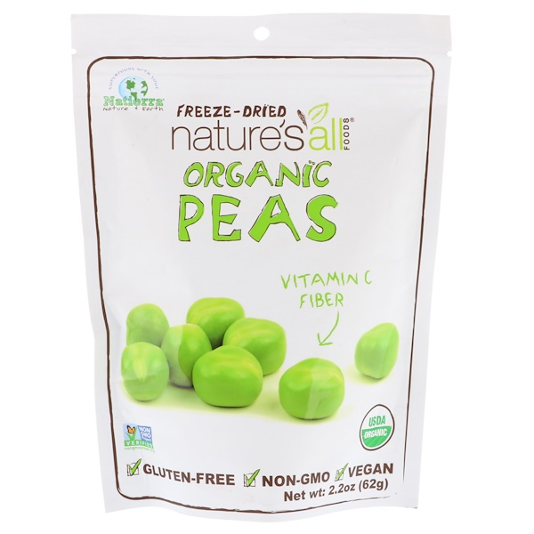 Natierra, Organic Freeze-Dried, Peas, 2.2 oz (62 g) (Discontinued Item)