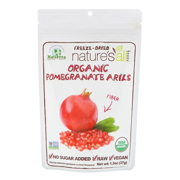 Natierra Nature's All , Organic Freeze-Dried, Pomegranate Arils, 1、3 oz (37 g)