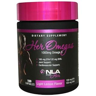 NLA for Her, Her Omegas, Light Lemon Flavor, 1000 mg, 100 Capsules