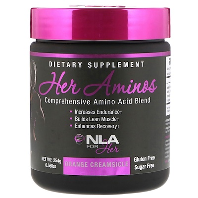 NLA for Her Her Aminos, Comprehensive Amino Acid Blend, Orange Creamsicle, 0.56 lb (254 g)