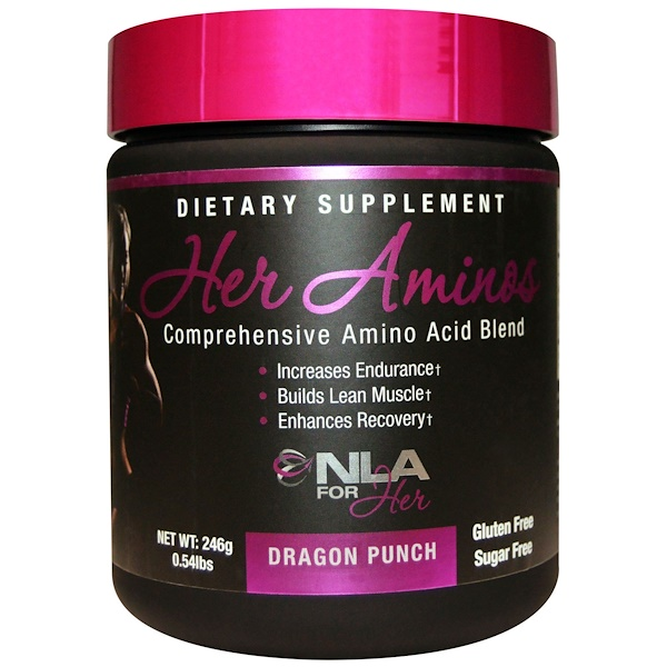 NLA for Her, Her Aminos(女性用アミノ酸)、 総合アミノ酸ブレンド、 ドラゴンパンチ、 0.54 ポンド (246 g)