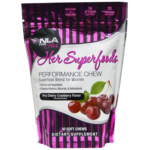 NLA for Her, Her Superfoods, Performance Chew, Very Cherry Cranberry Flavor, 30 Soft Chews (Discontinued Item)
