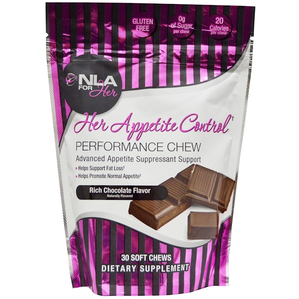 NLA for Her, Her Appetite Control, Performance Chew, Rich Chocolate Flavor, 30 Soft Chews (Discontinued Item)
