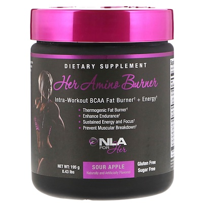 NLA for Her Her Amino Burner, Intra-Workout BCAA Fat Burner + Energy, Sour Apple, 0.43 lbs (195 g)