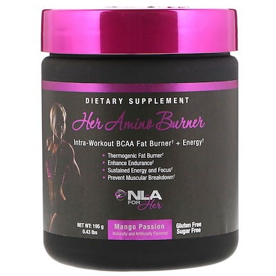 NLA for Her Her Amino Burner, Intra-Workout BCAA Fat Burner + Energy, Mango Passion, 0.43 lbs (195 g)