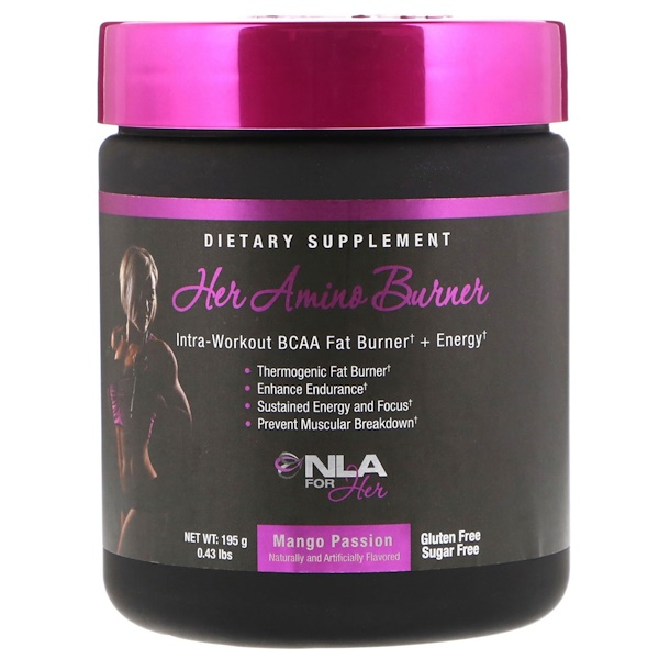 NLA for Her, Her Amino Burner, Intra-Workout BCAA Fat Burner + Energy, Mango Passion, 0.43 lbs (195 g)