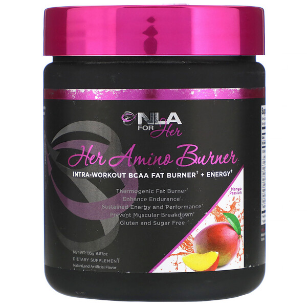 NLA for Her, Her Amino Burner, Intra-Workout BCAA Fat Burner + Energy, Mango Passion, 6.87 oz (195 g)