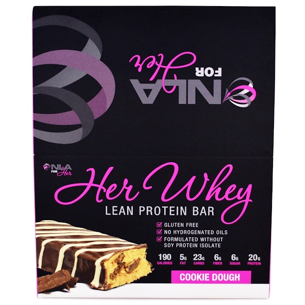 NLA for Her, Her Whey, Lean Protein Bar, Cookie Dough, 12 Bars, 2 oz (57 g) Each (Discontinued Item)