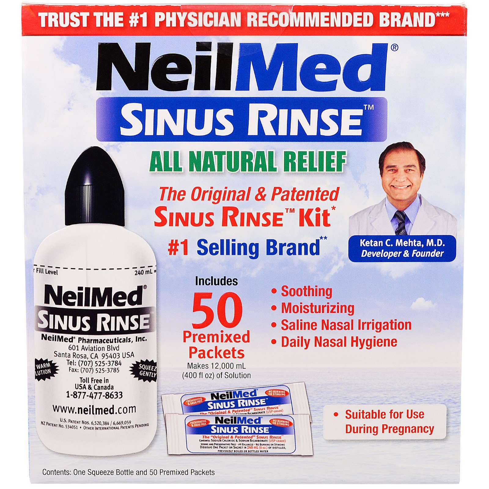 NeilMed, The Original & Patented Sinus Rinse Kit, 50