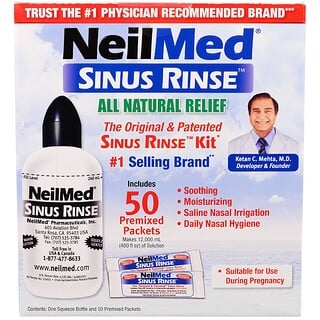 NeilMed, Kit Sinus Rinse Original e Patenteado, 50 pacotes pré mesclados, 1 kit