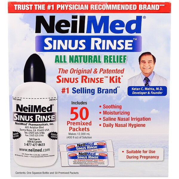 NeilMed, The Original & Patented Sinus Rinse Kit, 50 Premixed Packets, 1 Kit