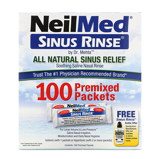 NeilMed, Sinus Rinse, All Natural Sinus Relief, 100 Premixed Packets