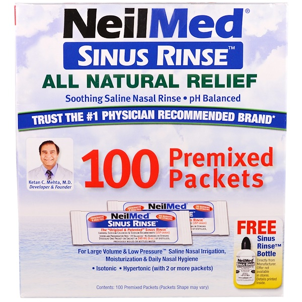 NeilMed, Sinus Rinse, All Natural Relief, 100 Premixed Packets
