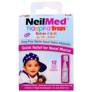 NeilMed, Gotas Naspira, para bebés y niños, 12 ampollas salinas estériles, 0,034 fl oz (1 ml) cada una