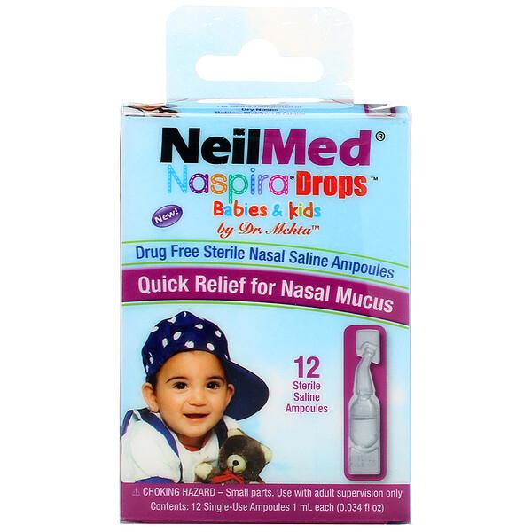 Gotas Naspira, para bebés y niños, 12 ampollas salinas estériles, 0,034 fl oz (1 ml) cada una