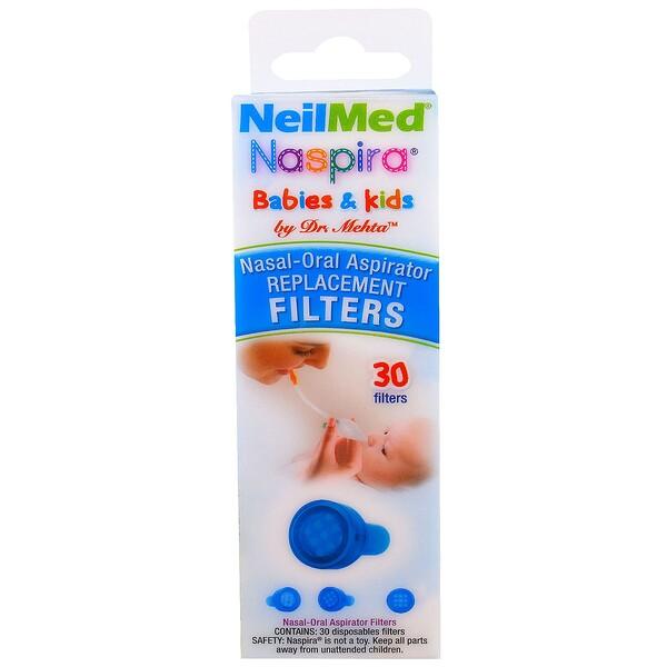 NeilMed, Naspira, аспиратор для носовой и ротовой полости сменные фильтры, для детей, 30 шт. (Discontinued Item)