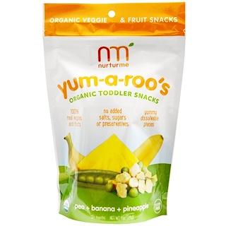 NurturMe, Organic Toddler Snacks, Yum-A-Roo's, Pea + Banana + Pineapple, 1 oz (28 g)