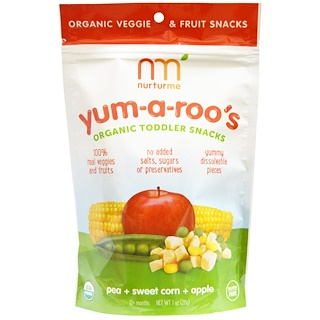 NurturMe, Organic Toddler Snacks, Yum-A-Roo's, Pea + Sweet Corn + Apple, 1 oz (28 g)